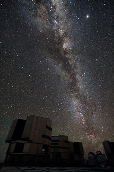Group Portrait of the VLT with the Galaxy skywatching