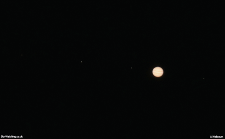 Single shot image of Jupiter with three moons to the left (Callisto, Ganymede and Io) and one (Europa) to the right from 1st October (click to enlarge) - Credit: Sky-Watching/A.Welbourn
