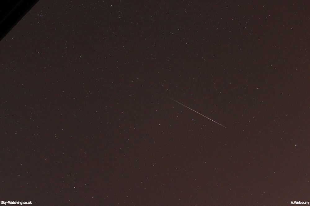 This one shows a nice long clear Perseid tail, with more definition to the shap at the end of the streak (click to enlarge) - Credit: Sky-Watching/A.Welbourn
