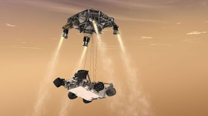 "Artist's concept shows how the ""sky crane"" slowly and precisely lowered Curiosity onto the surface of Mars - Credit: NASA/JPL-Caltech"