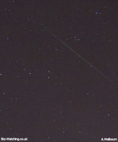 Another Perseid meteor flashes past Brocchi's Cluster (the upside down coat hanger!) early on 11th August 2012 (click to enlarge) - Credit: Sky-Watching/A.Welbourn