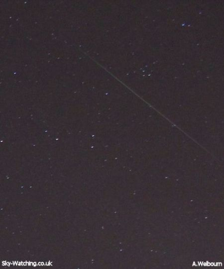 A Perseid meteor flashes past Brocchi's Cluster in August 2012 (the upside down coat hanger!) early on 11th August 2012 (click to enlarge) - Credit: Sky-Watching/A.Welbourn