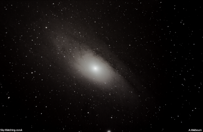 Andromeda was the first galaxy we imaged, and this shot was created by stacking 50 single shots to bring out the clarity (click to enlarge) - Credit: Sky-Watching/A.Welbourn
