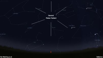 The Geminid Meteor Radiant is shown on 13th December at 22:30 UTC (click to enlarge) - Credit: Sky-Watching/Stellarium