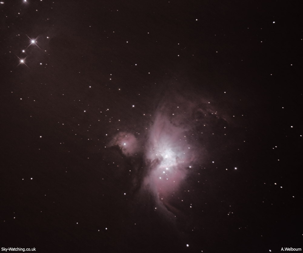 M42 the Orion Nebula is a great sight through binoculars or a small telescope (click to enlarge) - Credit: Sky-Watching/A.Welbourn