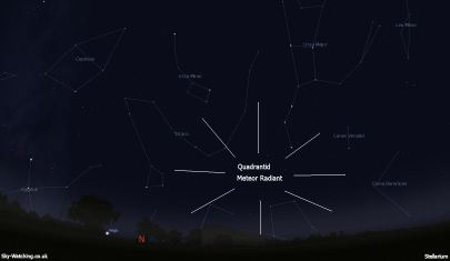 The radiant shows the direction meteors will appear to originate from, but they can appear all across the sky (click to enlarge) - Credit: Sky-Watching/Stellarium