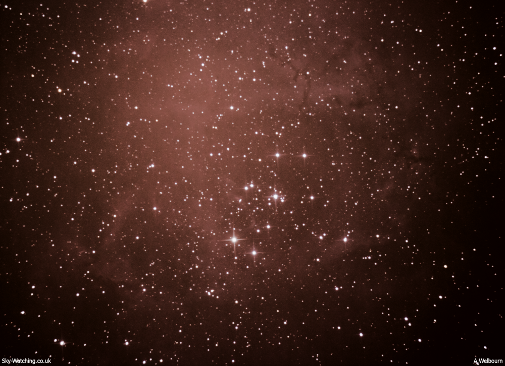 The stars of the open cluster shine brightly, surrounded by the gas and dust that make up the Rosette Nebula (click to enlarge) - Credit: Sky-Watching/A.Welbourn