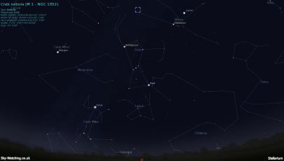 M1 Crab Nebula location 10022013 20.00 UTC (Sky-Watching.co.uk)