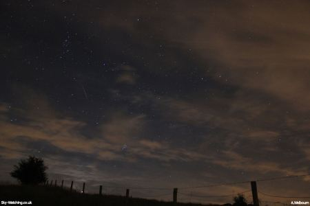 We're hoping a good show will give us the chance to catch some more meteor shots, like this summer Perseid from 2012 (click to enlarge) – Credit: Sky-Watching/A.Welbourn