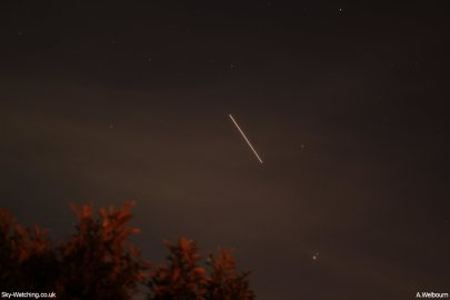 The ISS (Saturn and Porrima bottom right of centre) - Credit: Sky-Watching/A.Welbourn