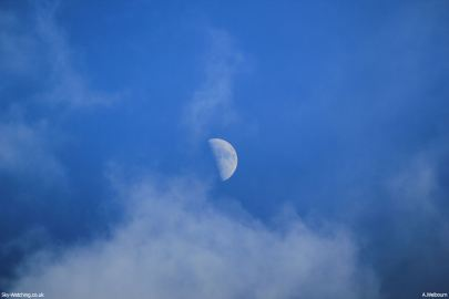 A daytime First Quarter Moon we photographed in April 2012 (click to enlarge) – Credit: Sky-Watching/A.Welbourn