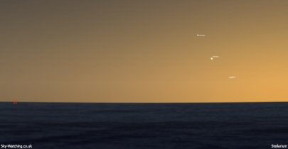 Mercury Venus Jupiter 20.30UTC 01062013 Sky-Watching.co.uk