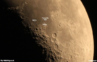 Located to the upper left of the large Theophilus crater, the site of Tranquility Base is close to the crate Moltke (click to enlarge) - Credit: Sky-Watching/A.Welbourn
