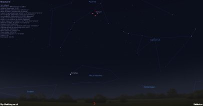 Shown at 23.55 UTC (00.55 BST) on 27th August, Neptune is at opposition to the Sun (click to enlarge) - Credit: Sky-Watching/Stellarium
