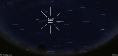 Shown high to the northwest at 19:30 UTC/ 20:30 BST on 7th October, the Draconids often put on a really good show! (click to enlage) - Credit: Sky-Watching/Stellarium
