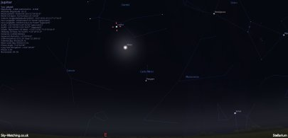 Shown to the east at 00:30 UTC/01:30 BST, the last quarter Moon appears near Jupiter (click to enlarge) - Credit: Sky-Watching/Stellarium