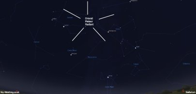 Shown to the southeast at 02:00 UTC/ 03:00 BST, this is where Orionid meteors will appear to originate from (click to enlarge) - Credit: Sky-Watching/Stellarium
