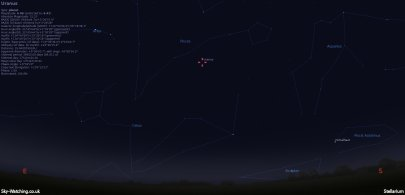 Look southeast around 21:20 UTC/ 22:20 BST to find Uranus just below Pisces (click to enlarge) - Credit: Sky-Watching/Stellarium