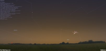 A target we'd love a look at (living near the coast we can get near to a sea level flat horizon if we travel!), would be nice to have some clear evenings in November (click to enlarge) - Credit: Sky-Watching/Stellarium