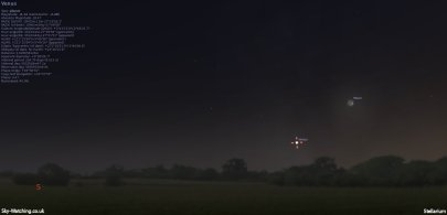 Shown low to the SSW at 17:20 UTC, Venus and the crescent Moon can be seen close to each other (click to enlarge) - Credit: Sky-Watching/Stellarium