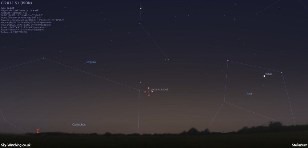 Low down to the east before sunset, we're still hopeful some of ISON will be visible for imaging! (click to enlarge) - Credit: Sky-Watching/Stellarium