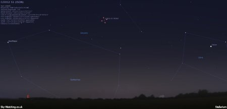 Rising earlier each day throughout December, we're hoping ISON has survived well enough to put on a bit of a show (click to enlarge) - Credit: Sky-Watching/Stellarium