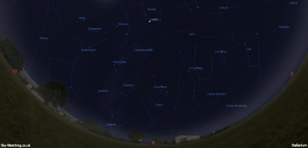 Shown midway through the month, these images can help you identify the constellations you'll see in the Northern sky (click to enlarge) - Credit: Sky-Watching/Stellarium