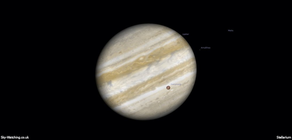 Through a telescope Ganymede will be clearly visible crossing the disc of Jupiter, shown at 21:00 UTC (click to enlarge) - Credit: Sky-Watching/Stellarium