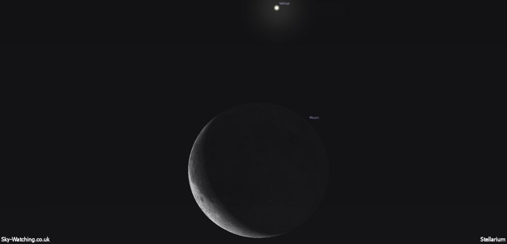 The crescent Moon and bright planet Venus will provide a great target for some photography this morning, if the weather will behave! (click to enlarge) - Credit: Sky-Watching/Stellarium