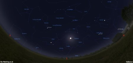 Shown at 00:00 UTC on 16th March, both these images are a handy guide for the whole month. This is the view you'll get looking south (click to enlarge) – Credit: Sky-Watching/Stellarium