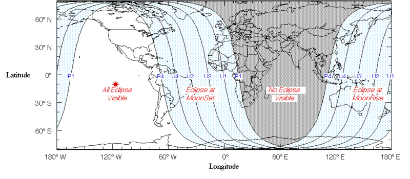 This map shows at a glance where on the planet the lunar eclipse will be visible - Credit: Fred Espenak (NASA GSFC)