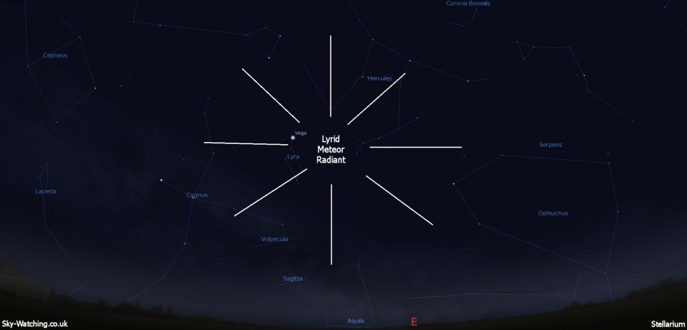 While the meteors will appear to emanate from Lyra, they can appear all over the sky (click to enlarge) - Credit: Sky-Watching/Stellarium