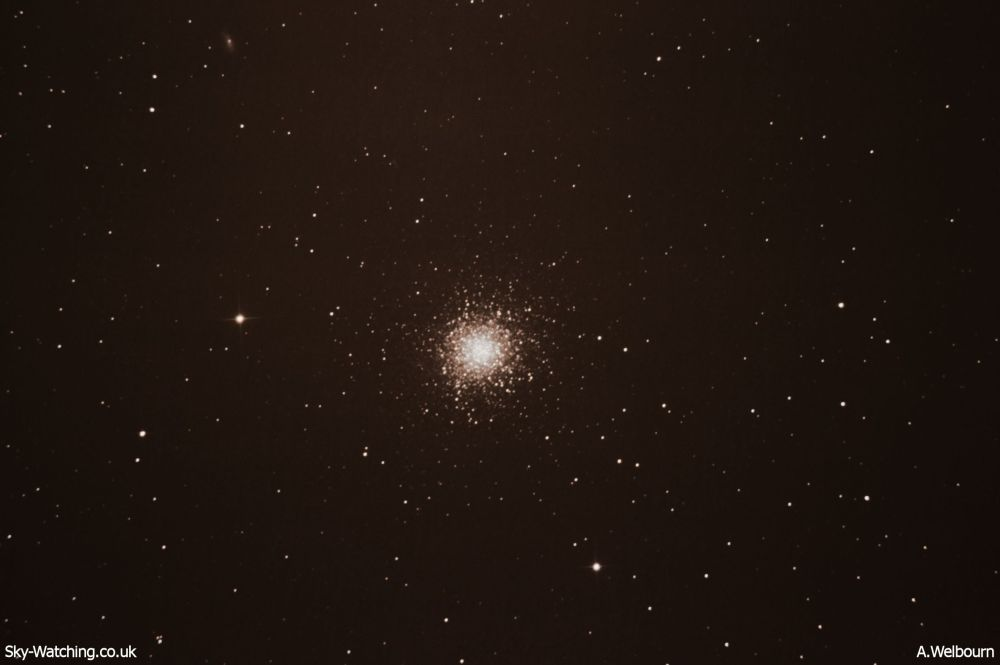 Also known as the Hercules Globular Cluster, M13 contains around 300,000 stars (click to enlarge) - Credit: Sky-Watching/A.Welbourn
