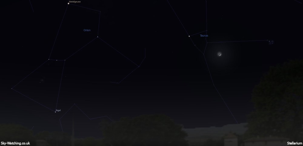 Shown due West at 21:00 UTC (22:00 BST) the waxing crescent Moon should be exhibiting Earthshine! (click to enlarge) - Credit: Sky-Watching/Stellarium