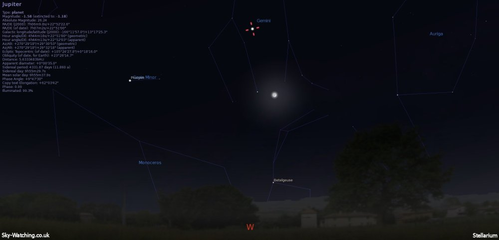 Shown low down to the West at 21:00 UTC (22:00 BST) Jupiter has the waxing crescent Moon for company after sunset (click to enlarge) - Credit: Sky-Watching/Stellarium
