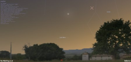 Shown to the West just after sunset, the crescent Moon and Jupiter should be clearly visible (click to enlarge) - Credit: Sky-Watching/Stellarium