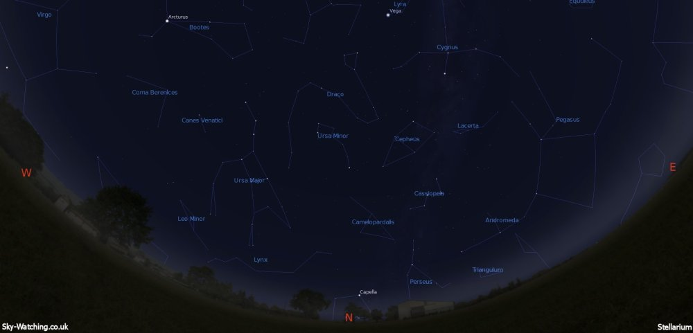 Displaying the night sky midway through the month, this image can help you identify the constellations you'll see in the northern sky in May (click to enlarge) – Credit: Sky-Watching/Stellarium