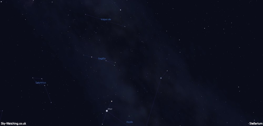Brocchi's Cluster (otherwise known as the Coat-Hanger for obvious reasons!) can be found high up to the South around midnight this evening (click to enlarge) - Credit: Sky-Watching/Stellarium