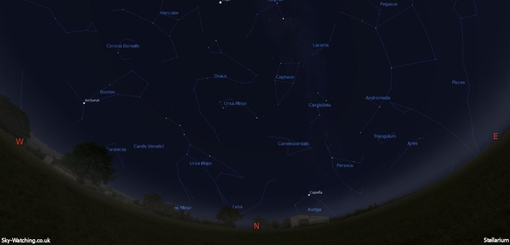 Displaying the night sky midway through the month, this image can help you identify the constellations you'll see in the northern sky in July (click to enlarge) – Credit: Sky-Watching/Stellarium