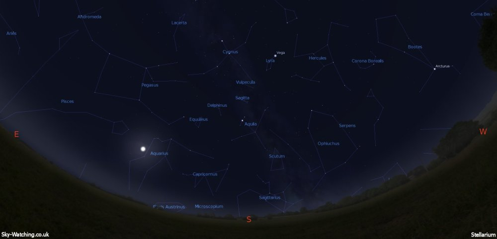 Shown at 00:00 UTC (01:00 BST) on 16th July, both these images are a handy guide for the whole month. This is the view you'll get looking South (click to enlarge) – Credit: Sky-Watching/Stellarium