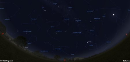 Displaying the night sky midway through the month, this image can help you identify the constellations you'll see in the northern sky in August (click to enlarge) – Credit: Sky-Watching/Stellarium