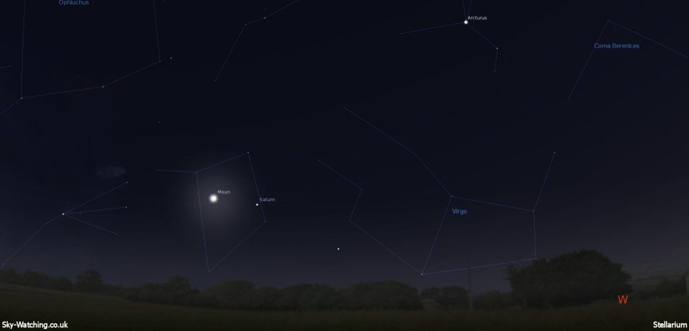 Shown at 21:00 UTC/22:00 BST low towards the West, the Moon can be seen near to Saturn (click to enlage) - Credit: Sky-Watching/Stellarium