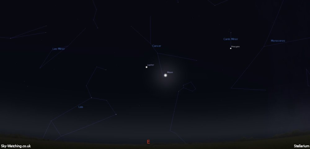 Jupiter and the Moon are close neighbours seen before dawn on 20th September (Click to enlarge) - Credit: Sky-Watching/Stellarium