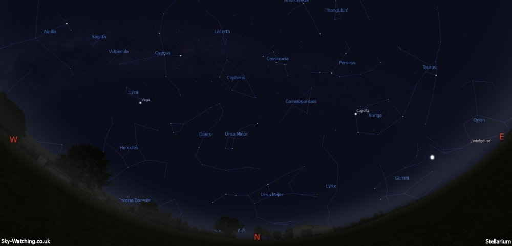 Displaying the night sky midway through the month, this image can help you identify the constellations you'll see in the northern sky in September (click to enlarge) – Credit: Sky-Watching/Stellarium