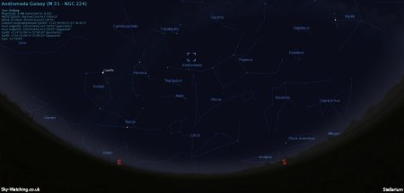 Shown at 21:00 UTC / 22:00 BST, look towards the south east and look up just past Pegasus to locate the Andromeda galaxy (click to enlarge) - Credit: Sky-Watching/Stellarium