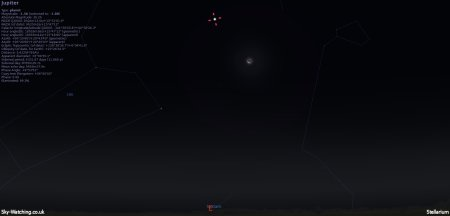 Jupiter looks great through some good binoculars or a small telescope, use the Moon to help locate it! (click to enlarge) Credit: Sky-Watching/Stellarium