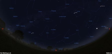 Displaying the night sky midway through the month, this image can help you identify the constellations you'll see in the northern sky in October (click to enlarge) – Credit: Sky-Watching/Stellarium
