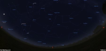 Shown at 00:00 UTC (01:00 BST) on 16th October, both these images are a handy guide for the whole month. This is the view you'll get looking South (click to enlarge) – Credit: Sky-Watching/Stellarium