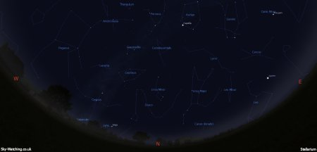 Displaying the night sky midway through the month, this image can help you identify the constellations you'll see in the northern sky in November (click to enlarge) – Credit: Sky-Watching/Stellarium