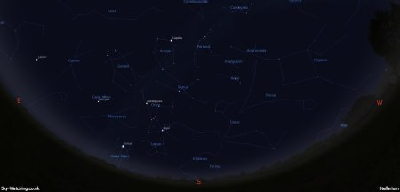 Shown at 00:00 UTC on 16th November, both these images are a handy guide for the whole month. This is the view you'll get looking South (click to enlarge) – Credit: Sky-Watching/Stellarium